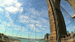 Brooklyn Bridge USA (with Fish-eye) Stock Footage
