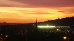 Murrayfield Stadium at night Stock Footage