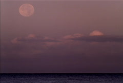 Full Moon Sets over Ocean NTSC Stock Footage