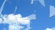 Stock Video Footage of Window Shatter Blue Sky