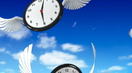 Stock Video Footage of Clocks flying in the sky
