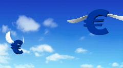 Euro symbols flying around  Stock Footage