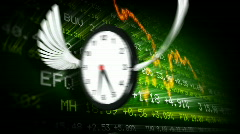 Trading board and clocks  Stock Footage