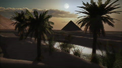 (1122) Egyptian Pyramids Desert Sunset Full Moon Day Night Oasis LOOP - stock footage