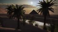 Stock Video Footage of (1122) Egyptian Pyramids Desert Sunset Full Moon Day Night Oasis LOOP