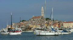 Boats moored in the harbor at Rovinj Croatia. Stock Footage