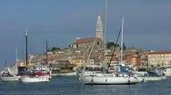 Stock Video Footage of Boats moored in the harbor at Rovinj Croatia.