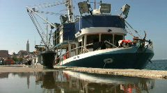 Fishing boats moored in the harbor at Rovinj Croatia. Stock Footage