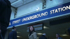HD720p London. Liverpool Street Underground Station sign Stock Footage