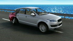 Transforming car on coastal highway Stock Footage