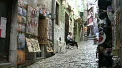 Narrow cobbled shopping street in Rovinj Croatia. Stock Footage