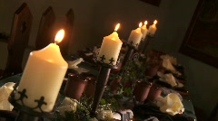 Candles On Table Stock Footage