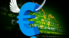 Trading board and euro symbols  Stock Footage