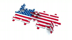 Puzzle - US Flag - stock footage