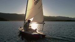 Peaceful Laser Sailboat Sunset Sparkle 4 59.94 Stock Footage