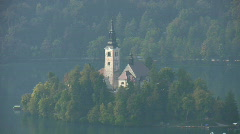 Island Church of Assumption in Lake Bled Slovenia Stock Footage