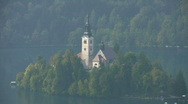 Stock Video Footage of Island Church of Assumption in Lake Bled Slovenia