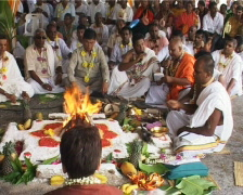 hare krishna praying ceremony - stock footage