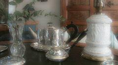 Silver tea can in Biedermeier style room Stock Footage
