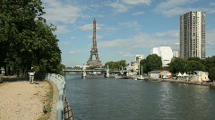 Eiffel Tower along the River Seine - stock footage