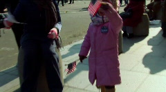 Obama Inauguration Cute Kid with Flags Stock Footage