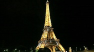 Eiffel Tower at Night with Sparkling Stars Stock Footage
