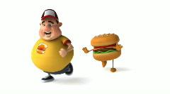 Fat kid and hamburger Stock Footage