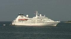 Cruise ship moored in the Adriatic Sea off the Croatian coast at Rovinj Stock Footage