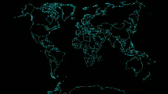 HD Flat of World Map Animating on by Country Stock Footage
