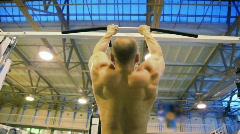 Bodybuilder training in gym Stock Footage