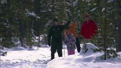 Winter Snowshoe Family Yellowstone 9 59.94 Stock Footage