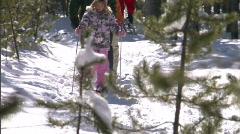 Winter Snowshoe Family Yellowstone 17 59.94 Stock Footage