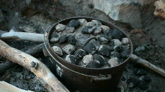 Dutch oven rolls cooking P HD 3492 Stock Footage