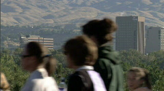 Women Fitness Crowd in Boise with Capitol Dome 9 1 23.98 Stock Footage