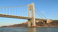 Stock Video Footage of Hudson river bridge