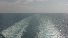 Wake behind ship Stock Footage