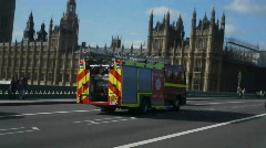 HD1080p Fire engine in London Stock Footage