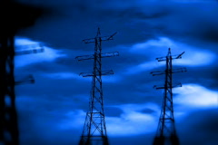 Electricity pillar and lightnings Stock Footage