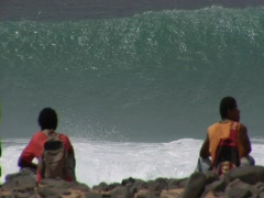 Cabo Verde Waves Locals Stock Footage