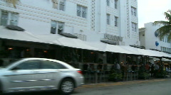 Stock Video Footage of Driving Miami Ocean Drive -  Buildings Art Deco - Clip 1 of  3