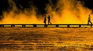 Women boardwalk vibrant sunset P HD 3010 Stock Footage