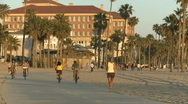 Santa Monica Boardwalk at Sunset - Time Lapse Stock Footage
