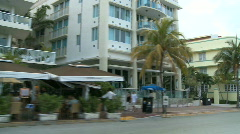 Stock Video Footage of Driving Miami Ocean Drive -  Buildings Art Deco - Clip 2 of 3