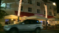 Driving Miami Ocean Drive at Night Buildings Art Deco - 2 of 5 Stock Footage