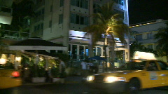 Driving Miami Ocean Drive at Night Buildings Art Deco - 5 of 5 Stock Footage
