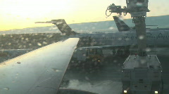 Defrosting the plane in Helsinki airport 2c Stock Footage