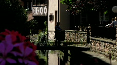 France Alsace Wissembourg medieval town canal Stock Footage