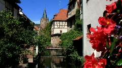 France Alsace Wissembourg medieval waterway canal Stock Footage