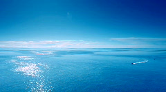 Blue Sea and sky with boat 03 Stock Footage