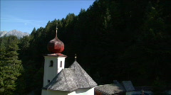 fly by little alp chapel - stock footage